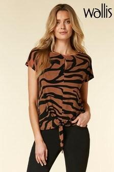 Wallis Brown Khaki Zebra Tie Front T-Shirt