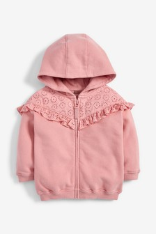 Broderie Frill Zip Through Hoody (3mths-7yrs)