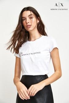 Armani Exchange Logo-Shirt, weiß