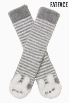 FatFace Grey Fuzzy Rabbit Socks