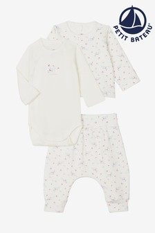 Petit Bateau White Floral Three Piece Outfit Set