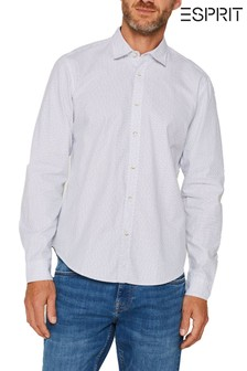Esprit White All Over Print Twill Woven Shirt