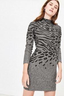 Oasis Grey Animal Bodycon Dress