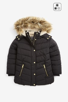 Faux Fur Shower Resistant Padded Jacket (3-16yrs)