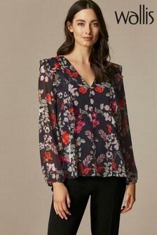 Wallis Black Floral Blossom Ruffle Shirt