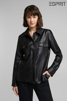 Esprit Black PU Shirt Jacket