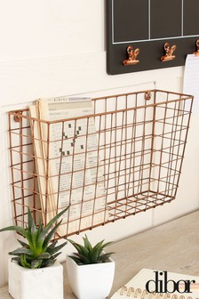 Copper Wire Wall Mounted Storage Basket by Dibor