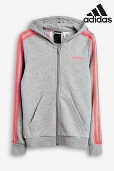 adidas Grey 3 Striped Linear Logo Full Zip Hoody