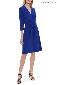 Gina Bacconi Blue Dessa Jersey Dress With Tie Belt