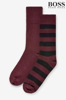 BOSS Red Block Stripe Socks Two Pack