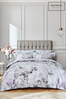 Bianca Amethyst Floral 400 Thread Count Cotton Sateen Duvet Cover and Pillowcase Set