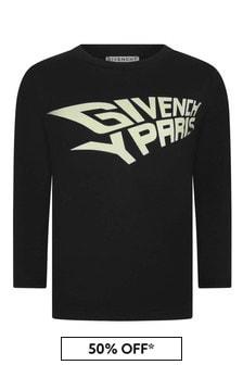 Boys Black Long Sleeve Cotton T-Shirt