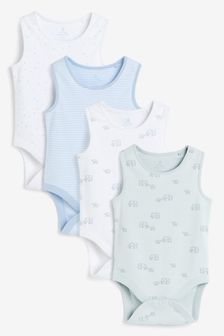 4 Pack Organic Cotton Elephant Vest Bodysuits (0mths-3yrs)