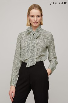 Jigsaw Stamp Dot Silk Blouse