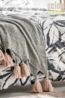 Scion Padua Knitted Cotton Throw With Tassels