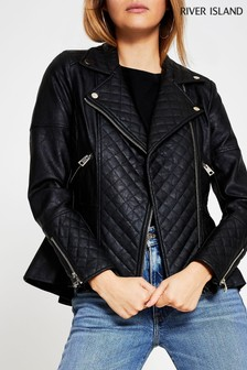 River Island Black Peplum Biker Jacket