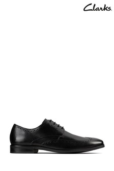 Clarks Black Leather Stanford Limit Shoes