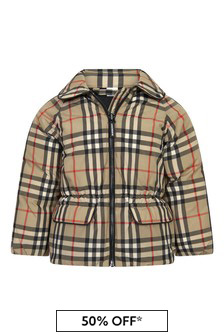 Burberry Kids Baby Girls Beige Jacket