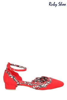 Ruby Shoo Red Lydia Almond Toe Buckle Ankle Strap Sandals