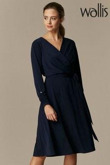Wallis Petite Navy Jersey Wrap Midi Dress