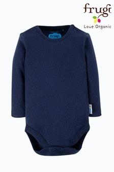 Frugi GOTS Organic Long Sleeve Plain Navy Bodysuit