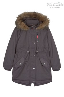 Mintie by Mint Velvet Grey Charcoal Showerproof Parka