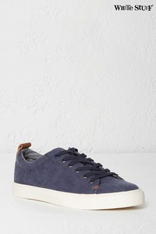 White Stuff Blue Washed Lace-Up Trainer