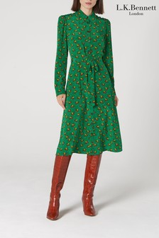 L.K.Bennett Green Sonya Silk Dress