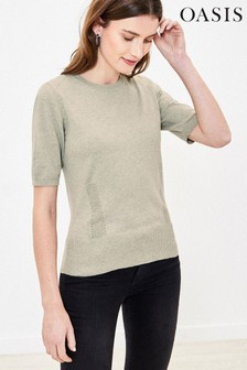 Oasis Pale Green Pointelle Knitted Jumper