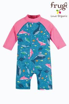 Frugi Pink Sun Safe Suit UPF50+ Whales