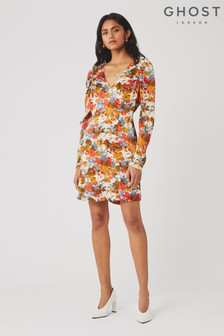 Ghost London Orange Bette Vintage Floral Print Satin Dress