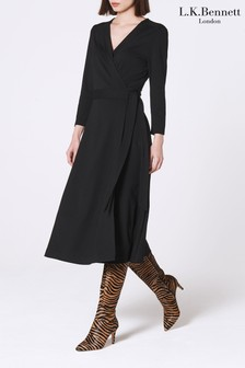 L.K. Bennett Black Juno Wrap Dress