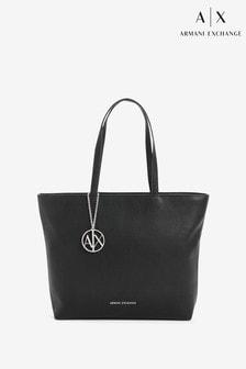 حقيبة كبيرة سوداء لامعة من Armani Exchange