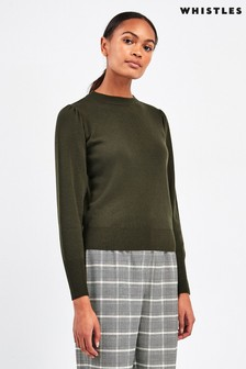 Whistles Khaki Puff Sleeve Recycled Polyester Knit Jumper