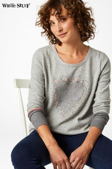 White Stuff Grey Confetti Heart Jumper