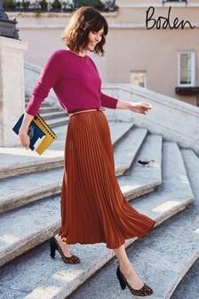 Boden Brown Kristen Pleated Skirt