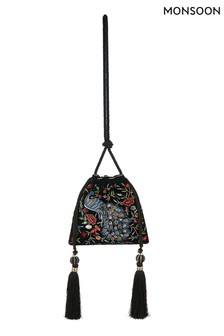 Monsoon Black Pippa Peacock Embroidered Drawstring Bag