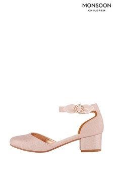 Monsoon Pink Bow Shimmer Two Part Heeled Shoes
