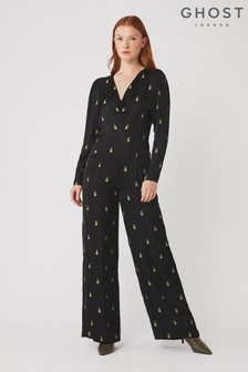 Ghost London Black Iva Jacquard Jumpsuit