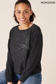Monsoon Grey Starburst Heat Seal Knitted Jumper