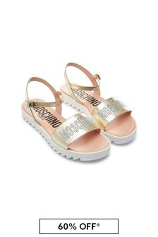 Moschino Kids Girls Gold Leather Sandals