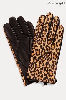 Phase Eight Multi Liz Leopard Print Gloves