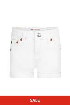 Levis Kidswear Girls White Cotton Shorts