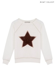Mintie by Mint Velvet White Faux Fur Star Sweatshirt