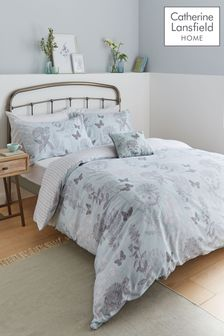Floral Butterfly Duvet Cover and Pillowcase Set by Catherine Lansfield