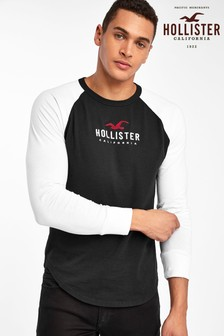 Hollister Black/White Long Sleeve Raglan T-Shirt