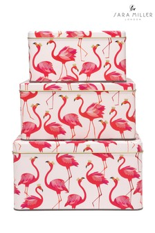 Set of 3 Sara Miller Flamingos Square Nested Cake Tins