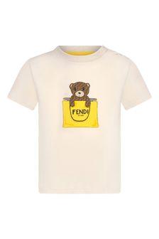 Fendi Kids Baby Girls Beige Cotton T-Shirt