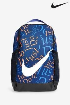 Nike Blue/Orange Kids All Over Print Brasilia Backpack