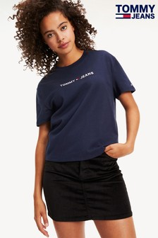 Tommy Jeans Blue Heart Linear Logo T-Shirt